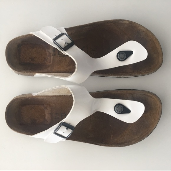 BIRKENSTOCK BETULA WHITE Patent Leather Thong Sandals Shoes
